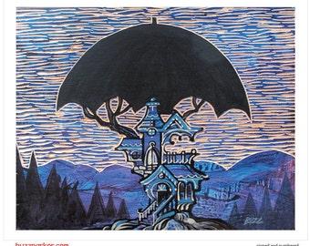 Waterproof Northwest, Tree House Series Art Print 8x10