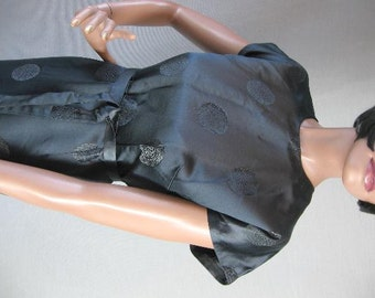 Vintage Black Silk Brocade Wiggle Dress Asian Inspired Large