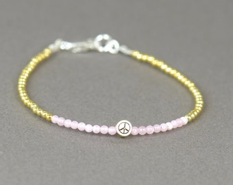 Sterling silver  vermeil gold and pink color beads bracelet Peace sign
