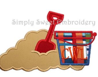 Sand Bucket Shovel Machine Embroidery Applique Design