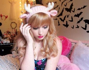 PINK Darling Deer Headband Ear Warmer