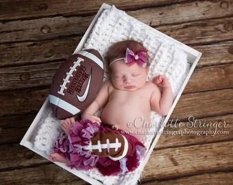 SALE College Football 3 Piece Set- A&M, Alabama - Baby Girl Headband, Chiffon ruffle bum baby bloomer, football Legwarmers - Photo Prop