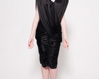 V Neck Black Vintage Dress