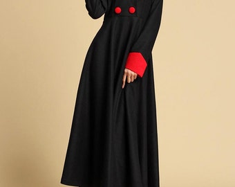 Black wool dress - women maxi wool dress - long winter dress (322)