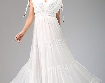Angel -- grecian wedding dress maxi dress white dress free shipping (667)