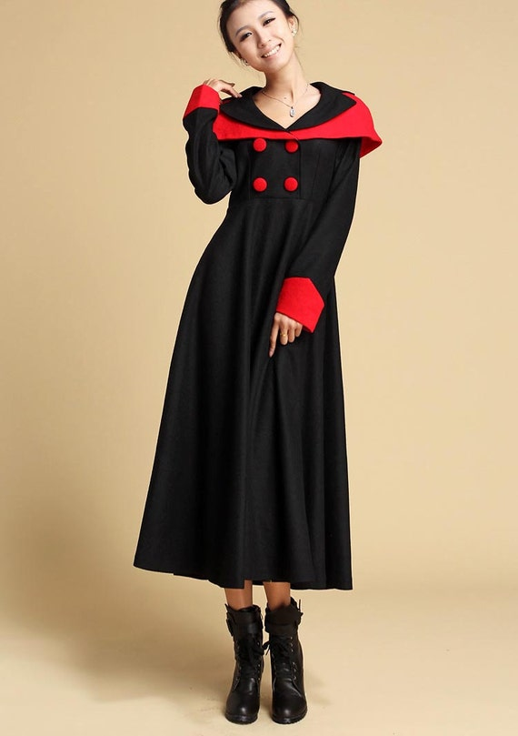 Black wool dress - women maxi wool dress - long winter dress (322)