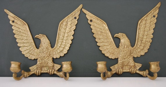 2 Heavy Brass Federal American Eagle Sconce Candelabra Candle Holders