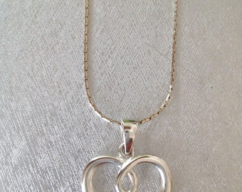 SALE...Beautiful Scroll Open Heart Sterling 925 Pendant
