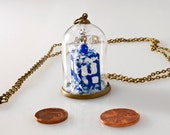 Pendant origami paper tardis under the snow in small glass globe -MADE TO ORDER