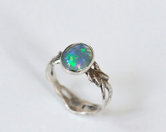 Opal ring, art nouveau ring, size 7.25 ring. Hand carved one of a kind elvish ring sterling silver