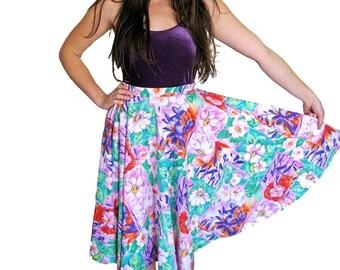 1950s Floral Skirt, Full Circle Skirt, Novelty Print, Bright Full Skirt, High Waist, XS, SMALL