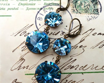 Swarovski Aquamarine Earrings Double Drop Blue Bridal Bridesmaids Old Hollywood Glam