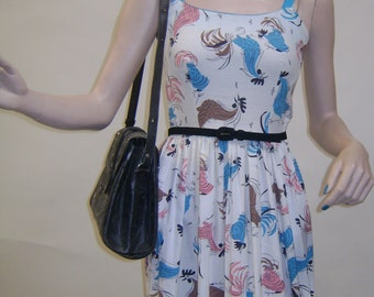 LINDA LO 1950s Rooster Print Day Dress