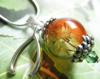 Dandelion Seed Ombre Green-Orange Glass Reliquary Terrarium Pendant w/Wishbone Charm-Ride The Wind-Gifts Under 35-Symbolizes Happiness
