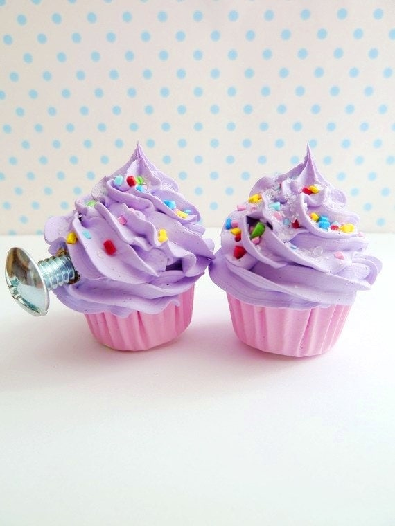 Alice in wonderland door knobs childrens pull knobs cupcake Door knobs set of 2 dresser knobs (kitchen,bakery,girls room) purple