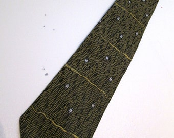 50's 60's Vintage SKINNY Tie.  Beautiful Black & Gold Necktie.  Mod, Eames era, Mad Men, Beatles, Rockabilly.