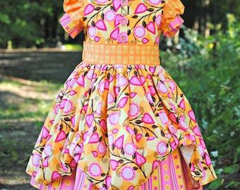 Girl's Vintage Inspired Dress, Toddler Dresses, Birthday Party Dress, Girls Dresses, Flower Girl Dress, pink dress, Size 2T-10