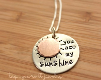 You are My Sunshine Hand Stamped Custom Necklace Personalized with Name Sterling Silver, Copper