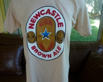 New Castle Ale vintage 1980s tee shirt ultra soft t-shirt size small tan