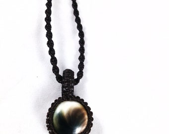 Wrapped Shiva Eye Chocolate Brown Macramé Necklace