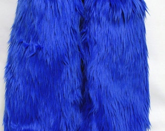Royal Blue Monster Leg Warmers / Fluffies / Boot Covers - Cosplay / Furry / Animal / Rave