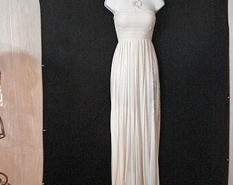 Long Maxi Halter Dress Cream Chic Goddess Summer Dress SM