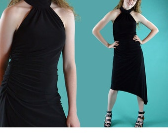 Vintage 90s Black Halter Dress / Asymmetrical Hem Black Cocktail Dress Vintage Party Dress High Neck Sleeveless Sheath Dress S / M