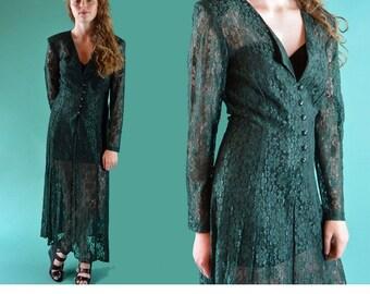 Vintage 80s Dress SHEER LACE Maxi Party Dress Lace Up Corset Back Deep V Neckline Romantic Lace Maxi Dress S / M
