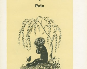Child Tree, Flying Bees, 2nd Day Pain, 1944 Vintage Children's Print 39, Silhouette Art, Book Plate, Mary Forster Knight, Yellow, Black