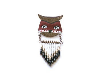Red Owl Totem - Hand painted brooch, animal totem pin, tribal jewelry, leather bead jewelry, owl jewelry, gift for bird lovers