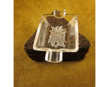 Frosted Rose Embossed Crystal Glass Rectangular Personal Individual Ashtray – Vintage Tobacciana