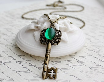 Emerald Key Necklace in Antique Brass or Antique Silver - Long