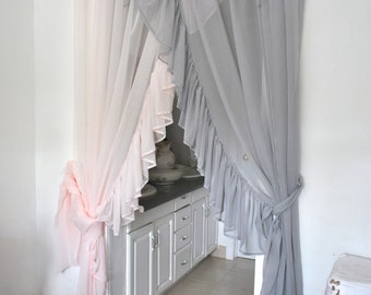 Side Ruffle Chiffon Curtain