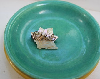 Mother of Pearl Name Brooch Ethel MOP Maple leaf carved Love Token VINTAGE by Plantdreaming