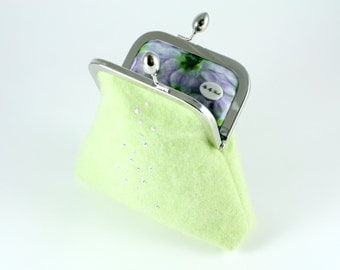Light green chartreuse luxury cashmere clutch purse...Swarovski crystals...elegant teardrop clasp...exclusive organic cotton print lining