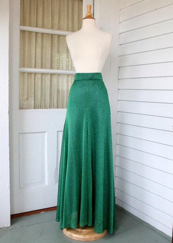 metallic green maxi skirt floor length mermaid by chimpvintage