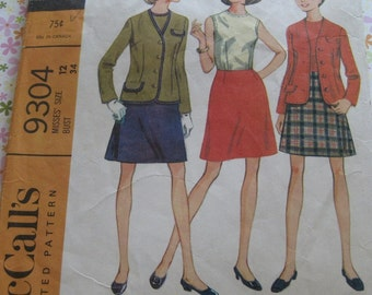 Vintage McCall's Sewing Pattern 9304 Misses' Separates: Jacket, Blouse and Skirt..size 12..bust 34