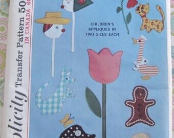 Vintage UNCUT Simplicity Applique Transfer Pattern 6259 Children's Clothes Applique Transfers
