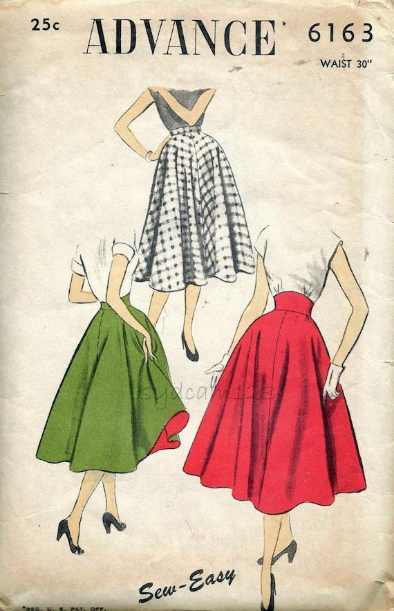 Vintage 1950s High Waist Circle Skirt Pattern Straight Or