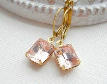 Pale Pink Dangle Earrings, Rosalyn Vintage Jewels Earrings. Pastel, Rose, Gold, Gift For Her Under 25