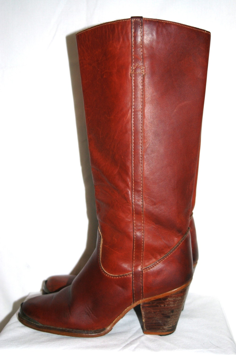 vintage 70s whiskey stacked heel cus boots size 7 1 2