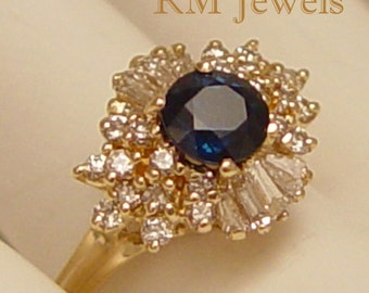 So Beautiful Sapphire and Diamond 14Kt Gold Vintage Ring