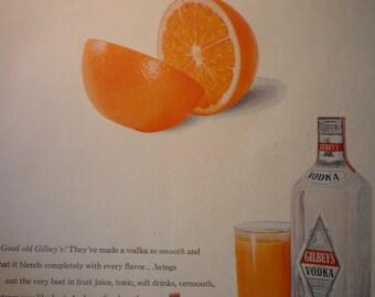 Vintage Ad - Vodka by Gilbeys - 1950s classic ad - original retro ad