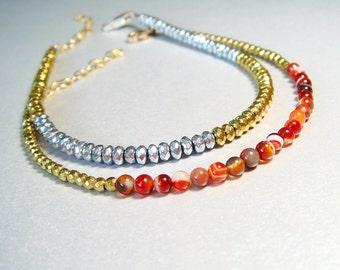 Stacking Bracelet Gold Bracelet Agate Jewelry Red Botswana Agate and Gold Pyrite Bracelet - Group Bracelets - Friendship Bracelets