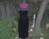 1950s Nathan Strong Dress - Mad Men Dress - Black Velvet Dress - Velvet Wiggle Dress - 50s Nathan Strong Dress - Velvet Pencil Dress