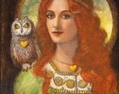 Owl Goddess Athena Art Greek mythology portrait print of painting by Sue Halstenberg