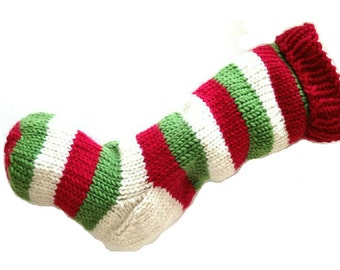 Christmas Stocking Hand Knit Red, Natural White, and Green Striped Santa Sock