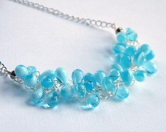 Blue Teardrop Necklace, Baby Blue Beaded Necklace, Czech Glass Necklace, Wire Crochet Necklace