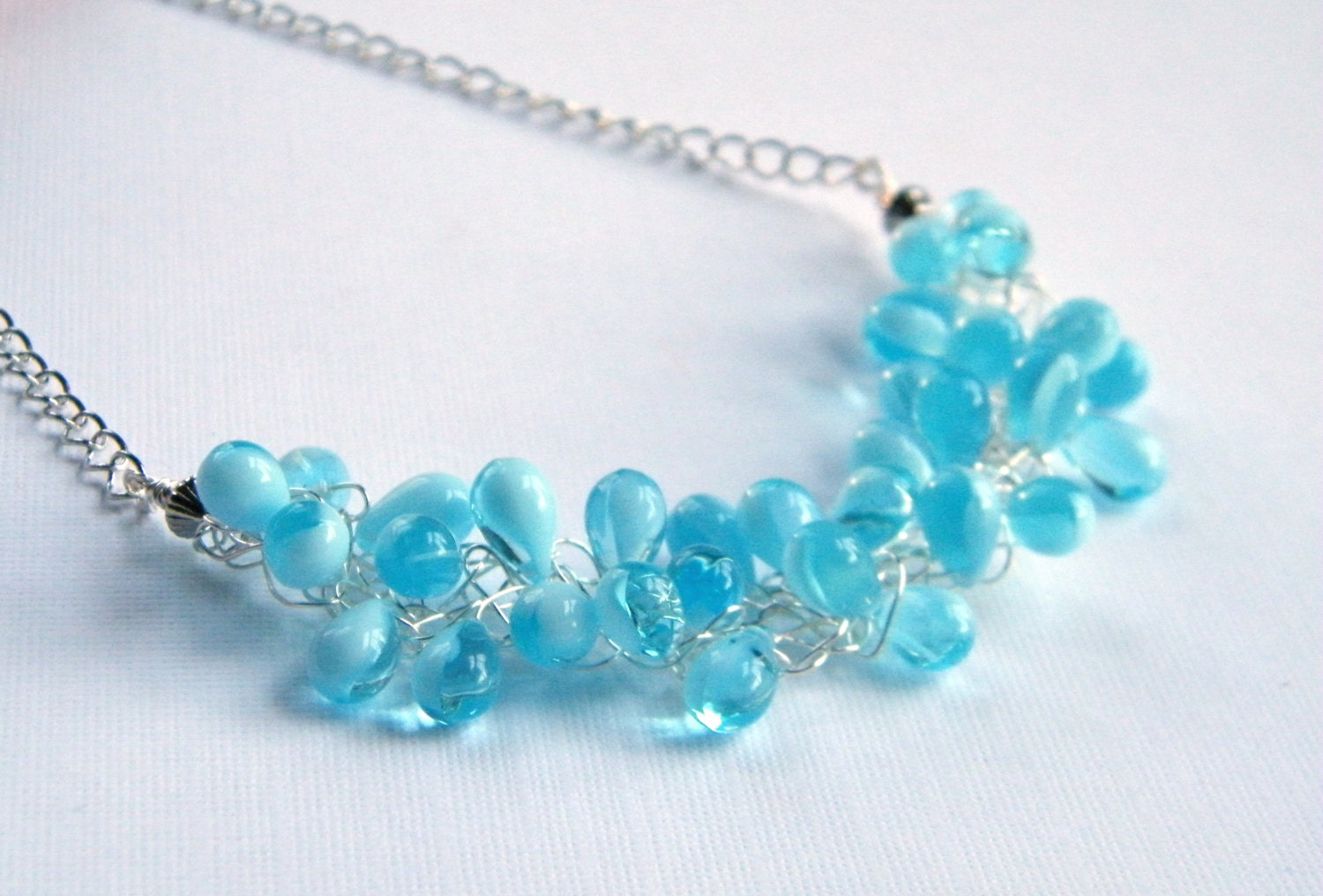 blue teardrop necklace baby blue beaded necklace glass