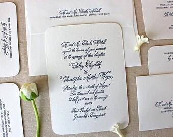 Letterpress Wedding Invitation - Madison Design - Calligraphy,Traditional, Elegant, Simple, Classic, Script, Custom, Formal, Destination